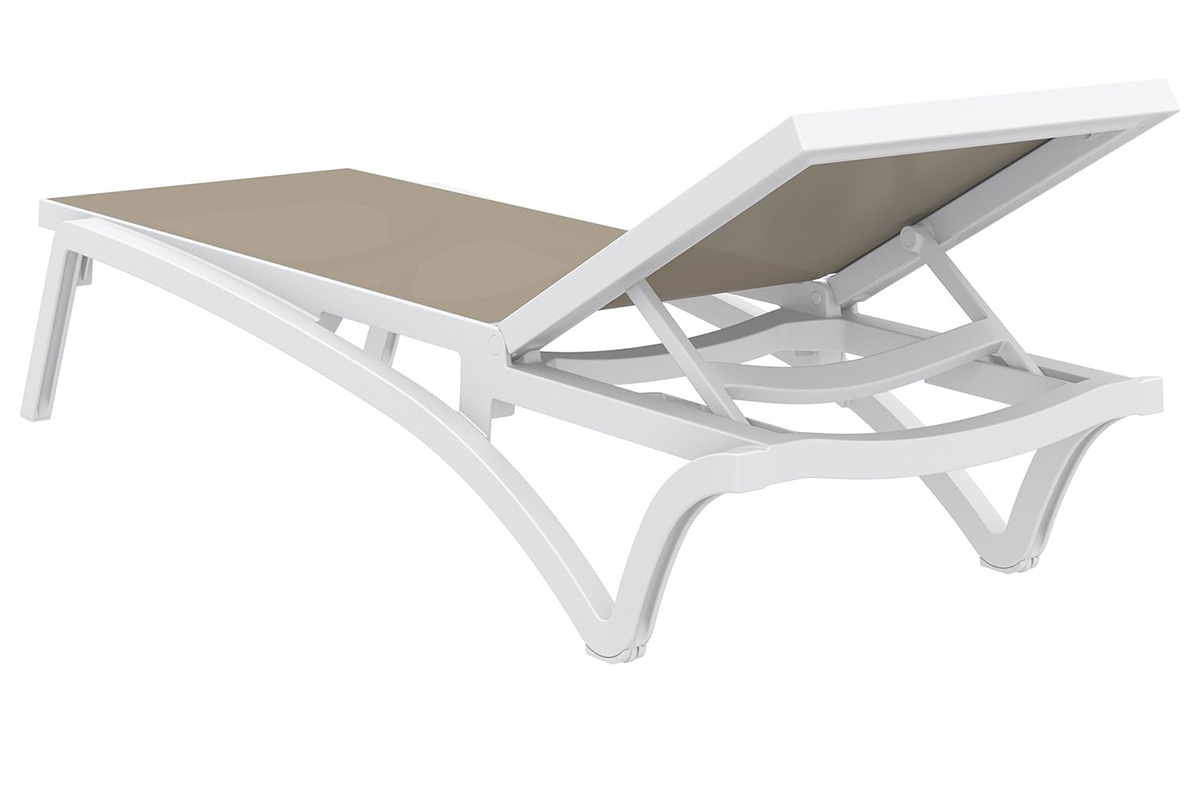 pacific sling pool chaise lounge with white frame and dove grey sling