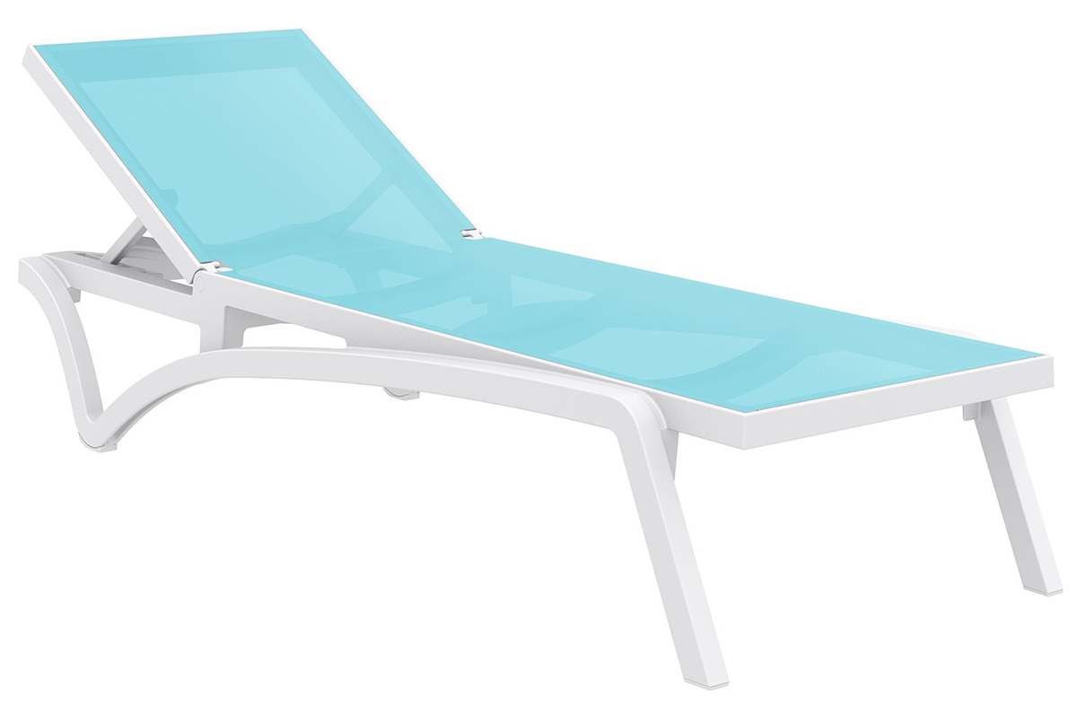 pacific sling pool chaise lounge with white frame and turquoise sling
