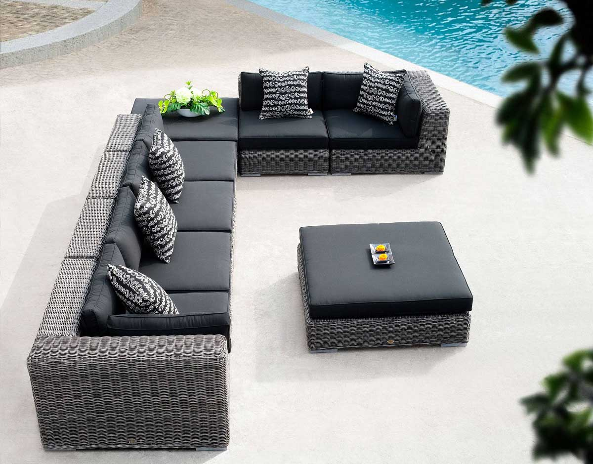 8 Pc. Emerald Wicker Sectional Set