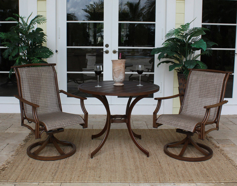 3 Pc Chub Cay Sling Bistro Set Slatted Top Patio Productions