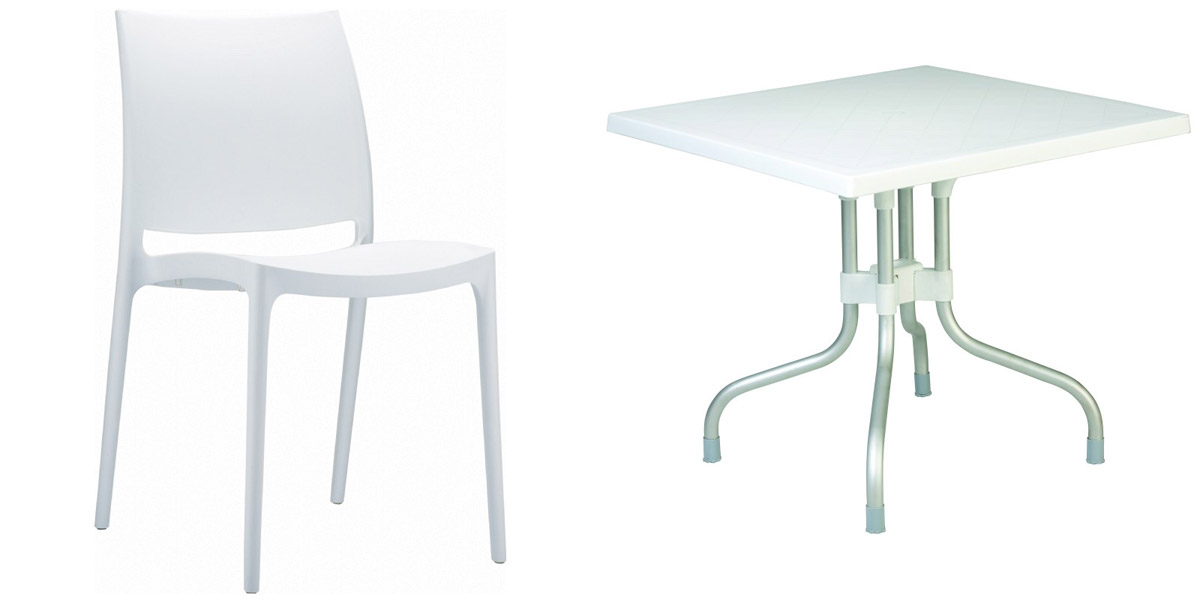Maya Chair and Forza Table White