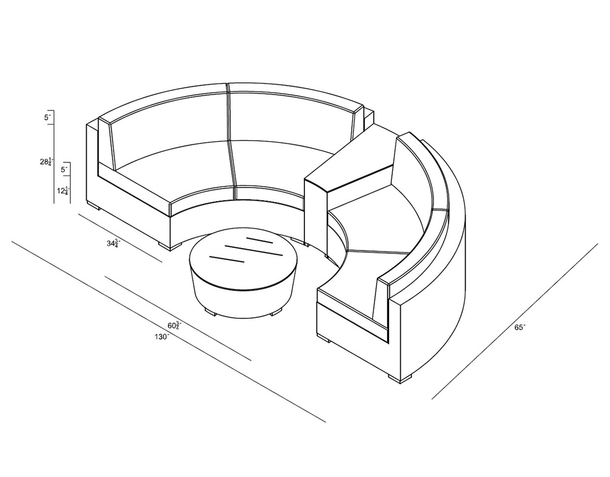 4 Piece District Curved Sectional Set (HL-DIS-TS-4CSEC) by Harmonia Living