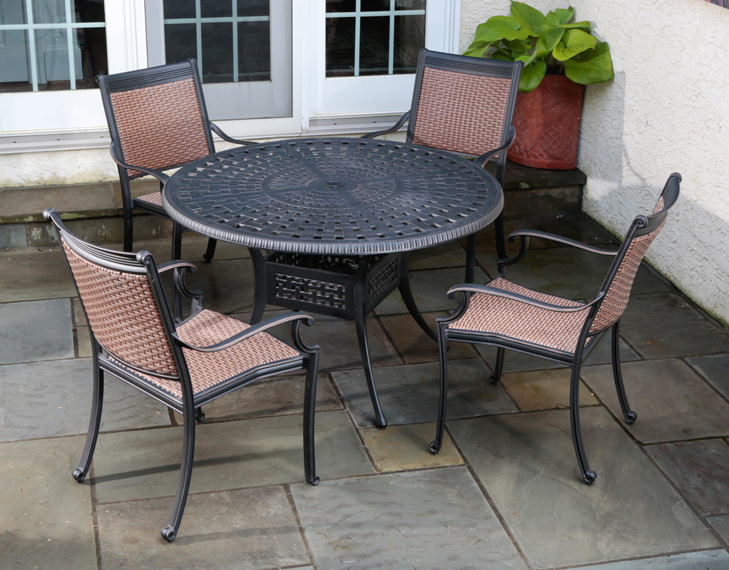Captivating Pilot All Weather Wicker Dining Set 22 1305 ...