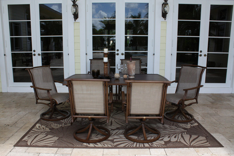 7 Pc. Chub Cay Sling Dining Set - Shown with 6 Swivel Chairs