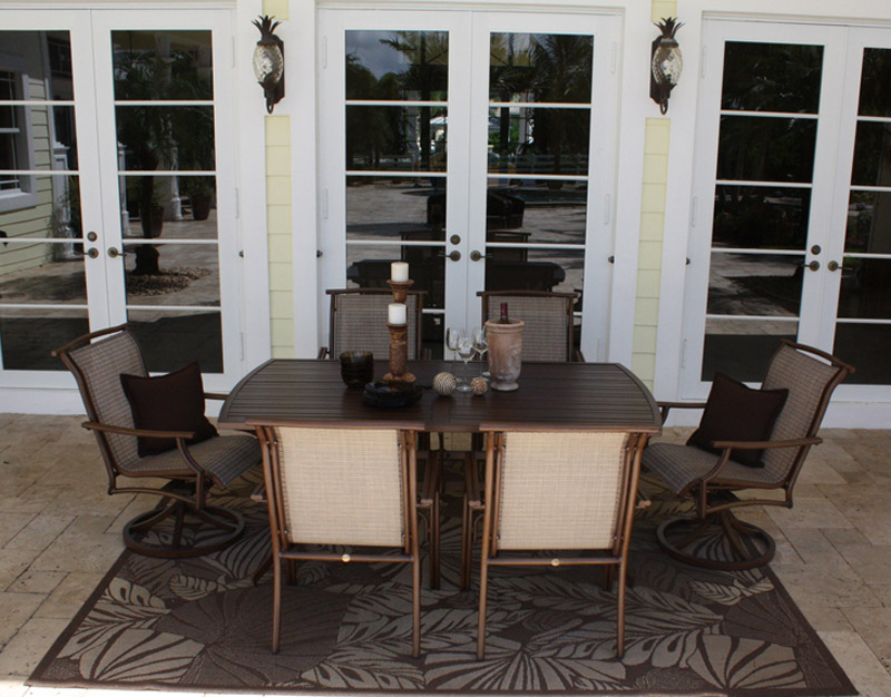 7 Pc. Chub Cay Sling Dining Set - Shown with 4 Arm Chairs and 2 Swivel Chairs