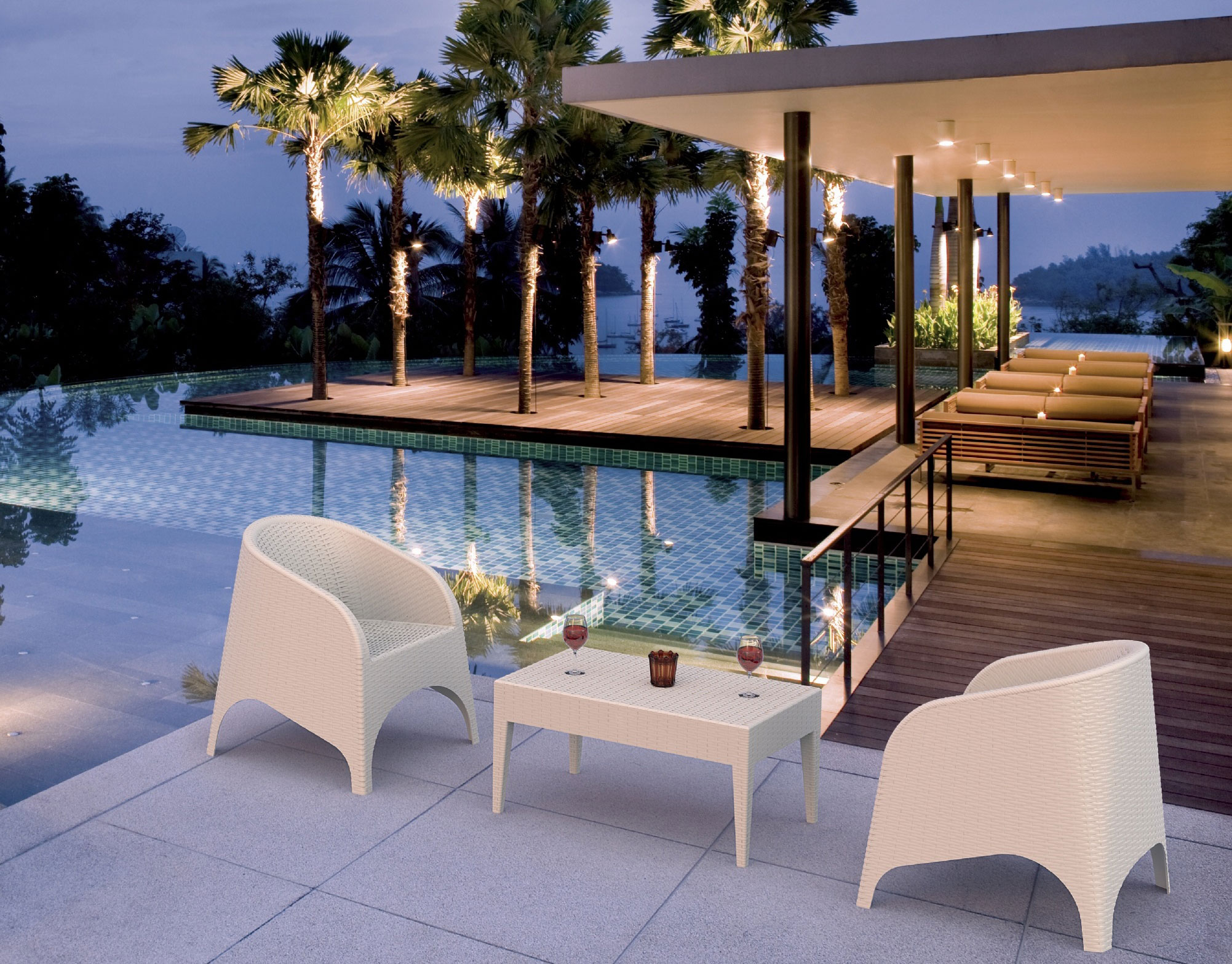 Miami Rectangle Resin Coffee Table Patio Productions - Miami outdoor furniture