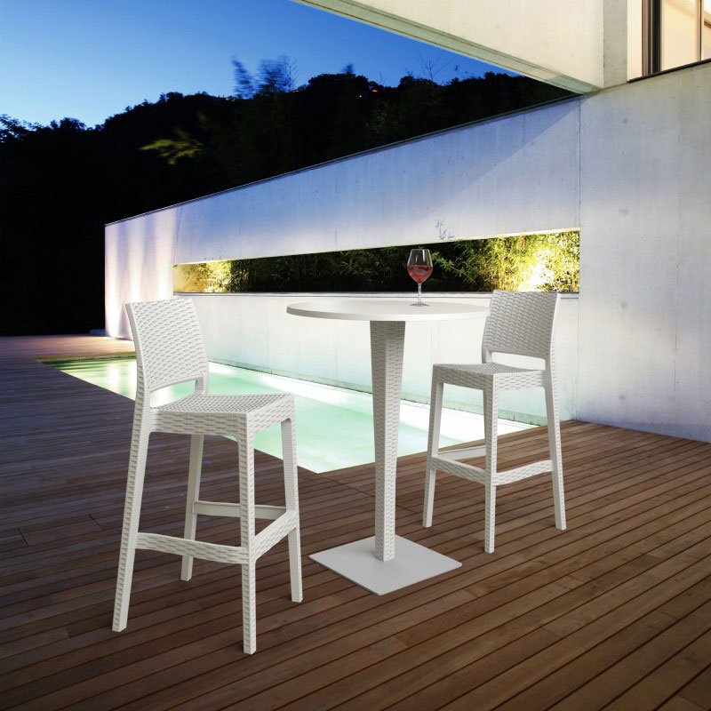 Marvelous Brown Finish · White Finish · Riva Werzalit Top Round Bar Table With  Jamaica Barstool In White Finish