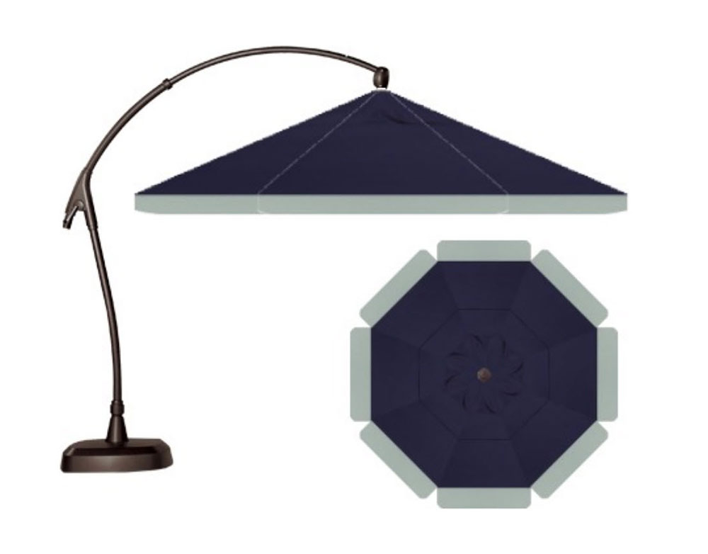 Shown with Accent Valence - Main Fabric in Sunbrella Navy and Second Fabric in Sunbrella Spa