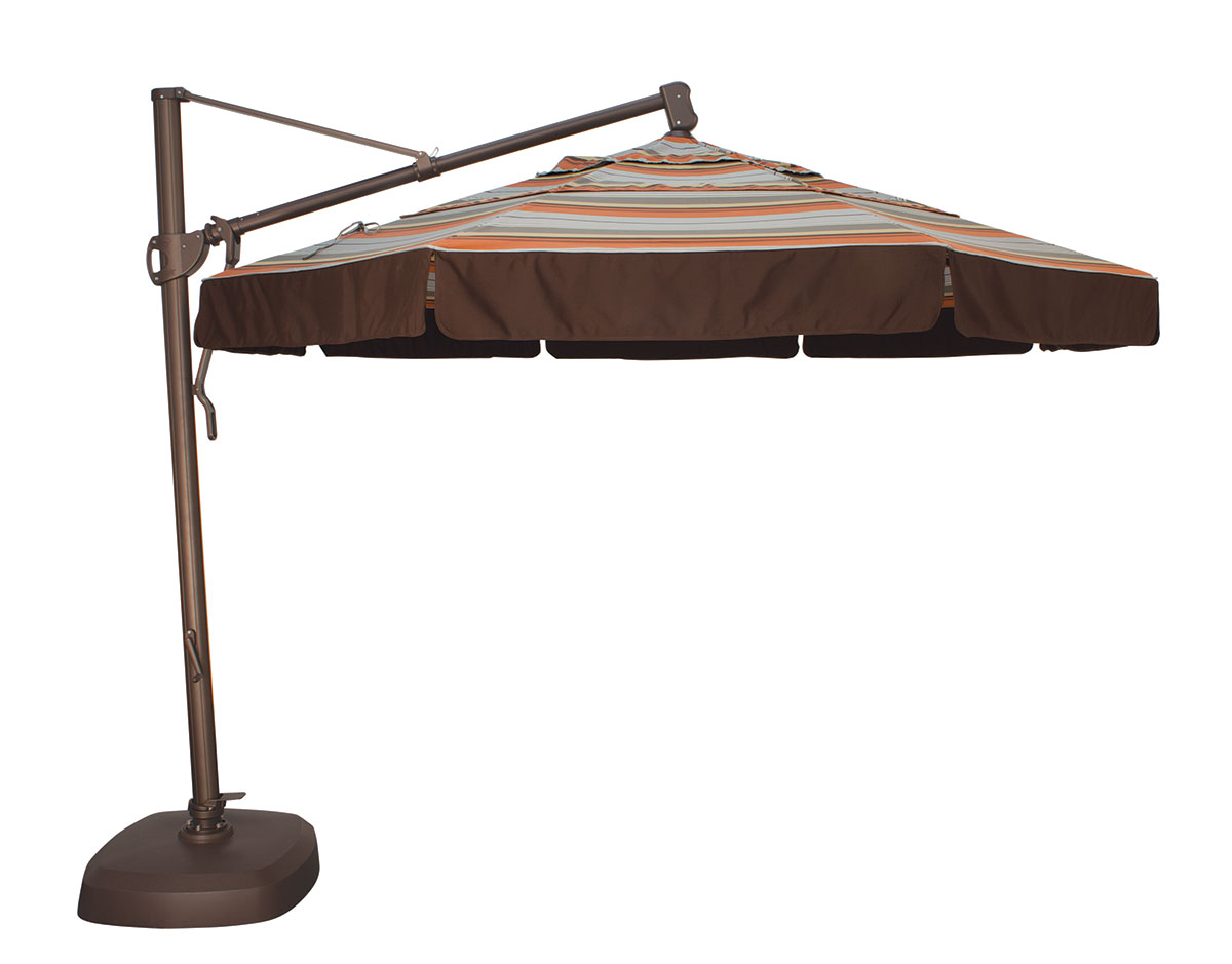 11u0027 Custom Cantilever Octagon Umbrella · Accented Valence Design · Shown  With Accent Valence Design