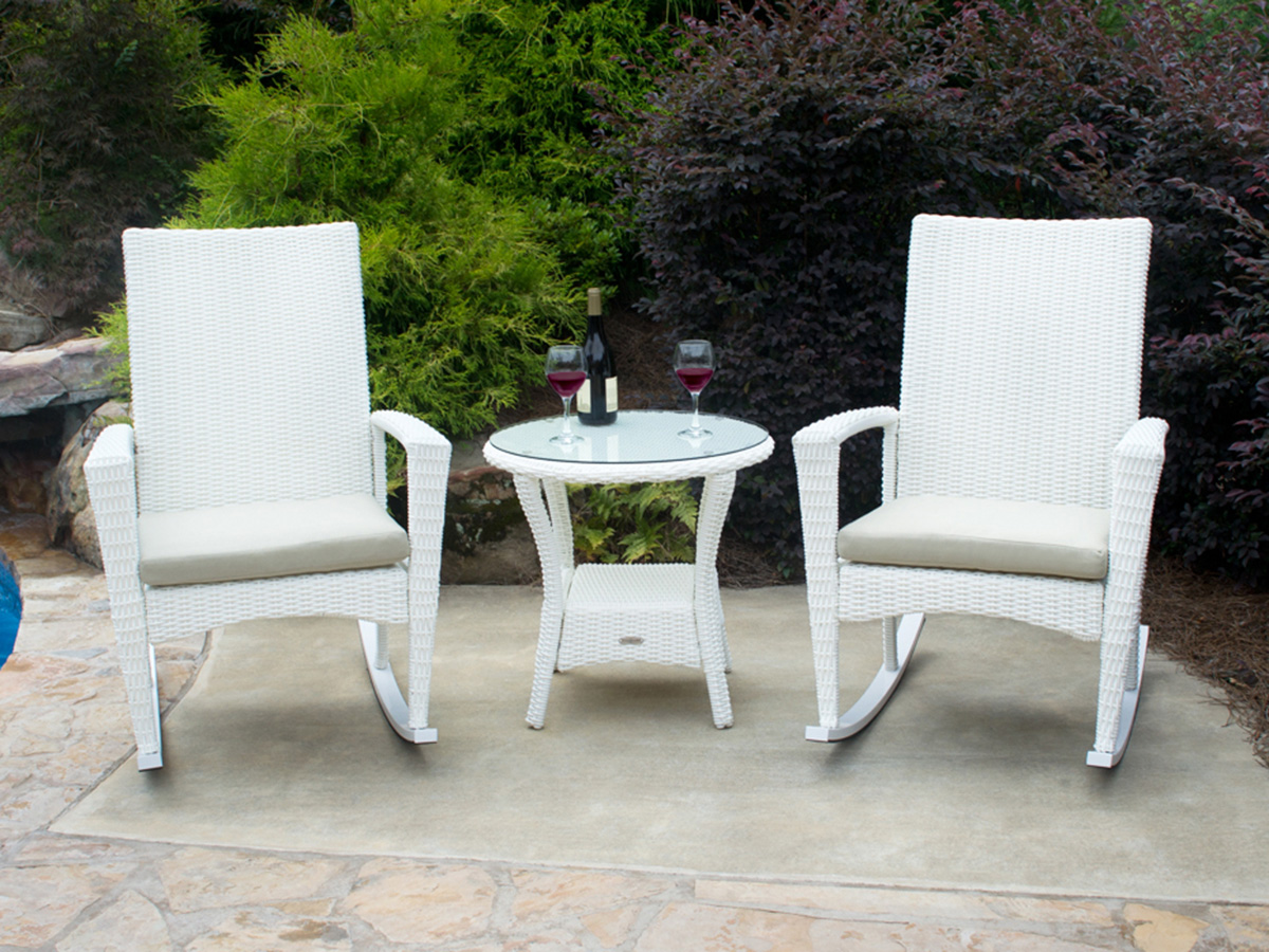 Acapulco chair on patio -  3 Pc Bayview Rocking Chair Set Magnolia
