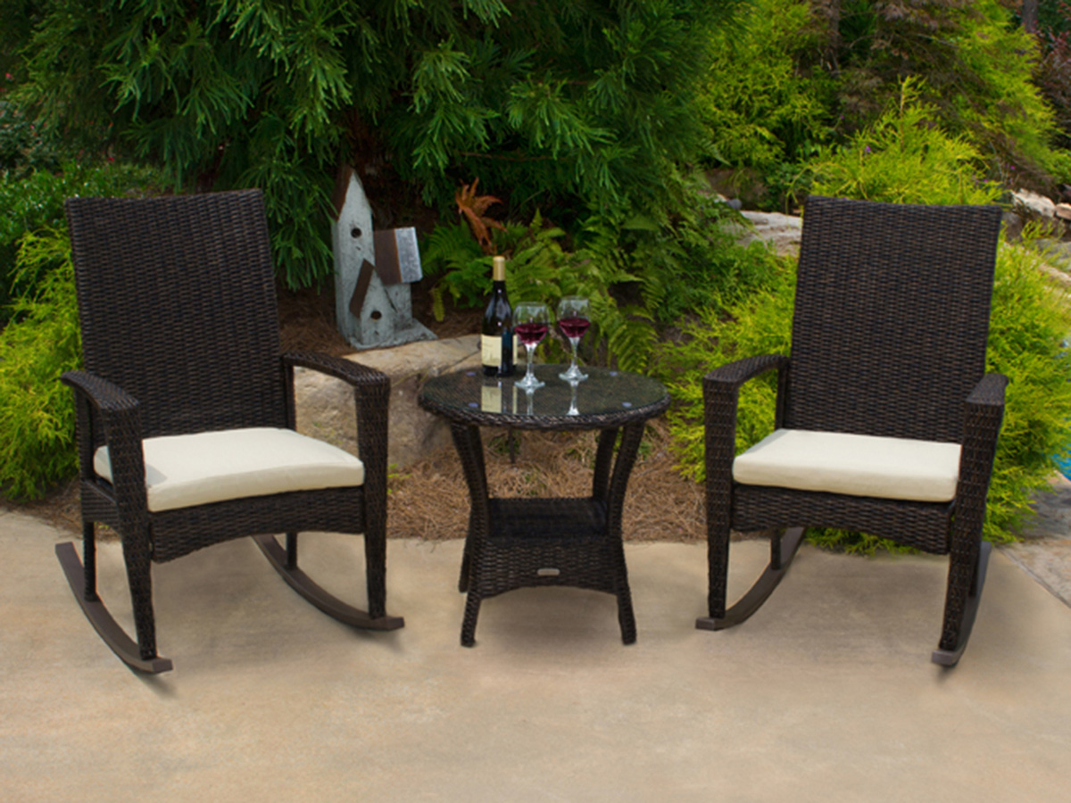 Acapulco chair on patio -  3 Pc Bayview Rocking Chair Set Pecan