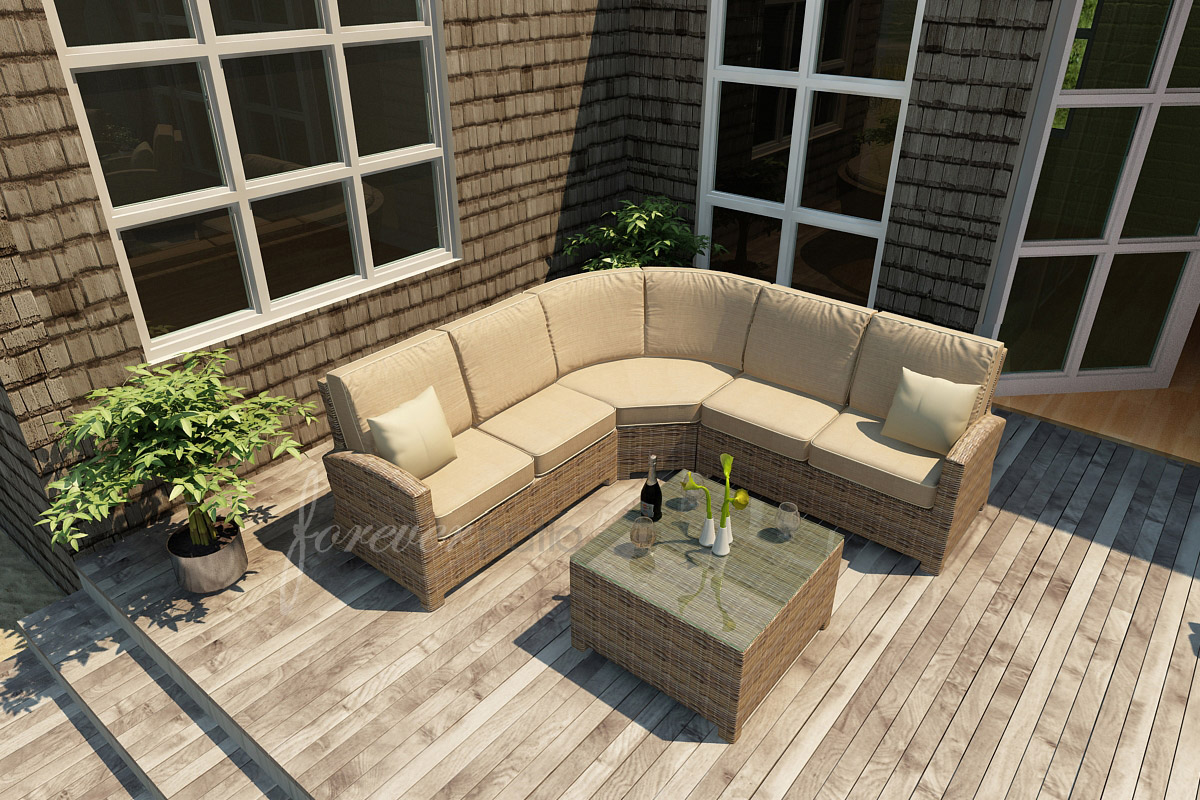 Sectional Set with Spectrum Mushroom cushions and Spectrum Sand welt