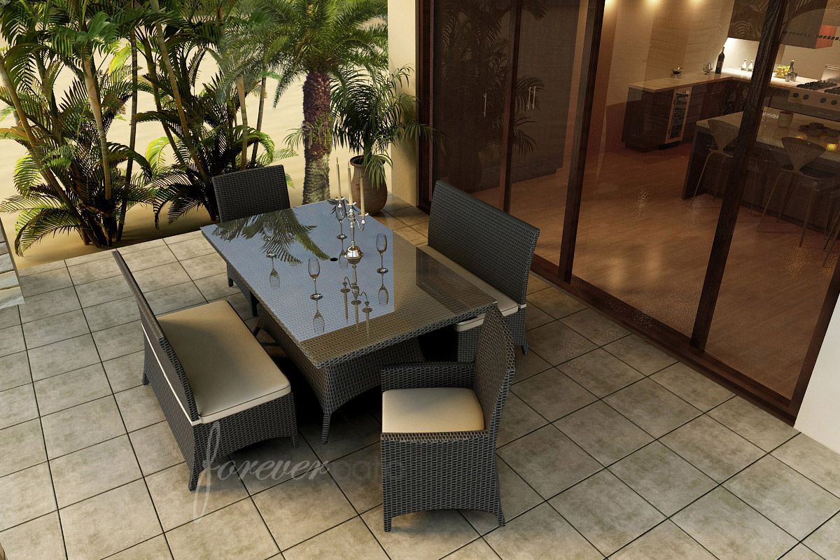 Dining set with Antique Beige cushions and Canvas Cocoa welt
