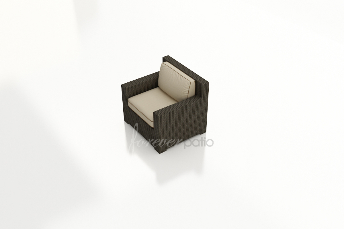 Chocolate Wicker with Cushions In Canvas Antique Beige with Canvas Cocoa Welt