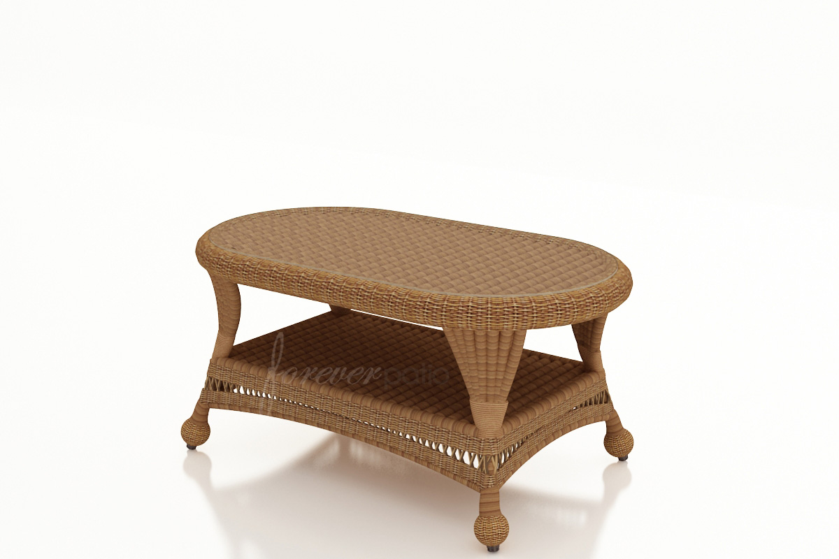 catalina wicker coffee table - walnut - patio productions