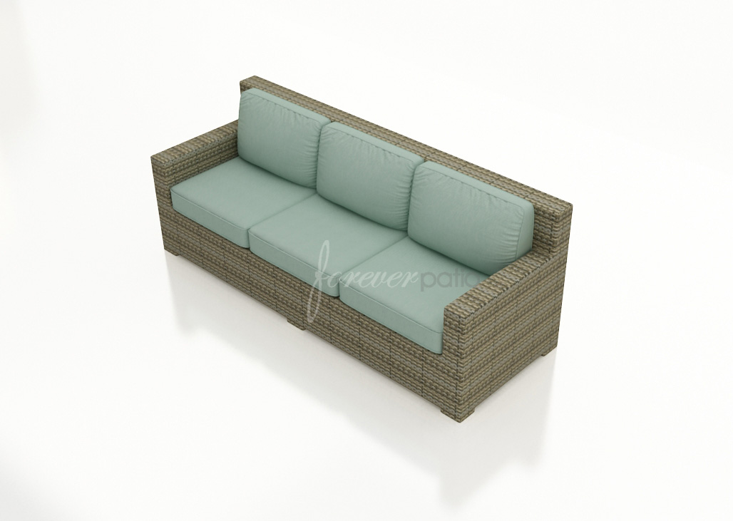 Sofa cushions in Canvas Spa with Canvas Spa welt