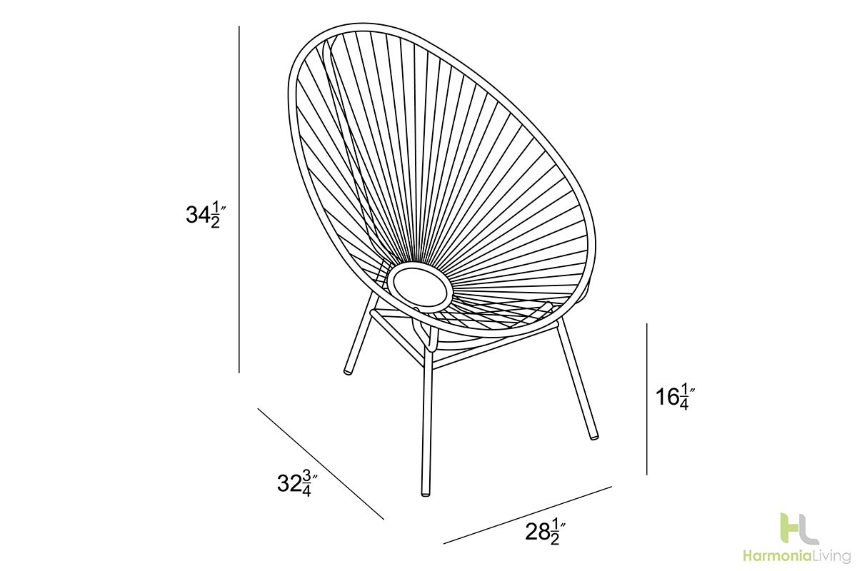 Acapulco chair dimensions - Acapulco Collection Dimensions