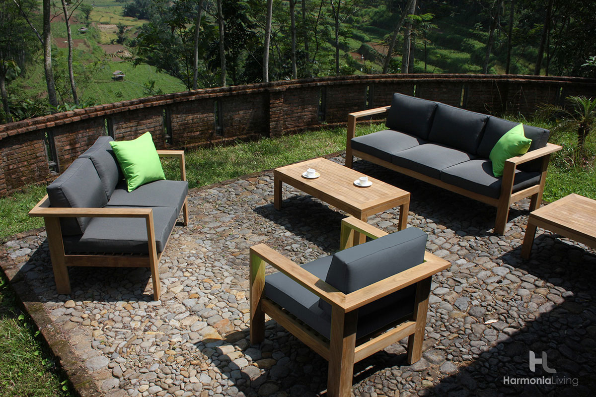 4 Pc. Ando Teak Sofa Set - Shown with Canvas Charcoal Cushions
