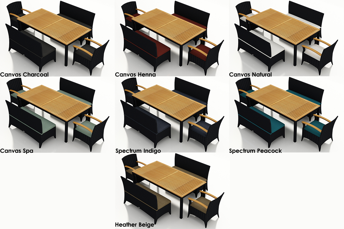 Shown with 2 Benches & 2 Arm Chairs - Quick Ship Fabrics