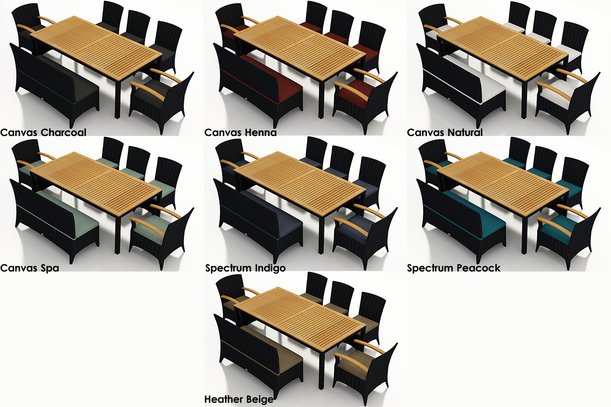 Shown with 1 Bench, 2 Arm & 3 Armless Chairs - Quick Ship Fabrics