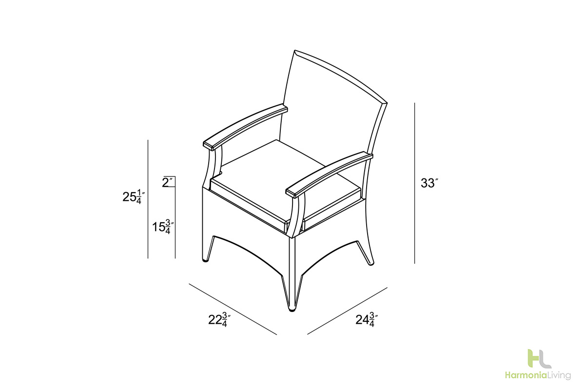 Dining Arm Chair - Dimensions