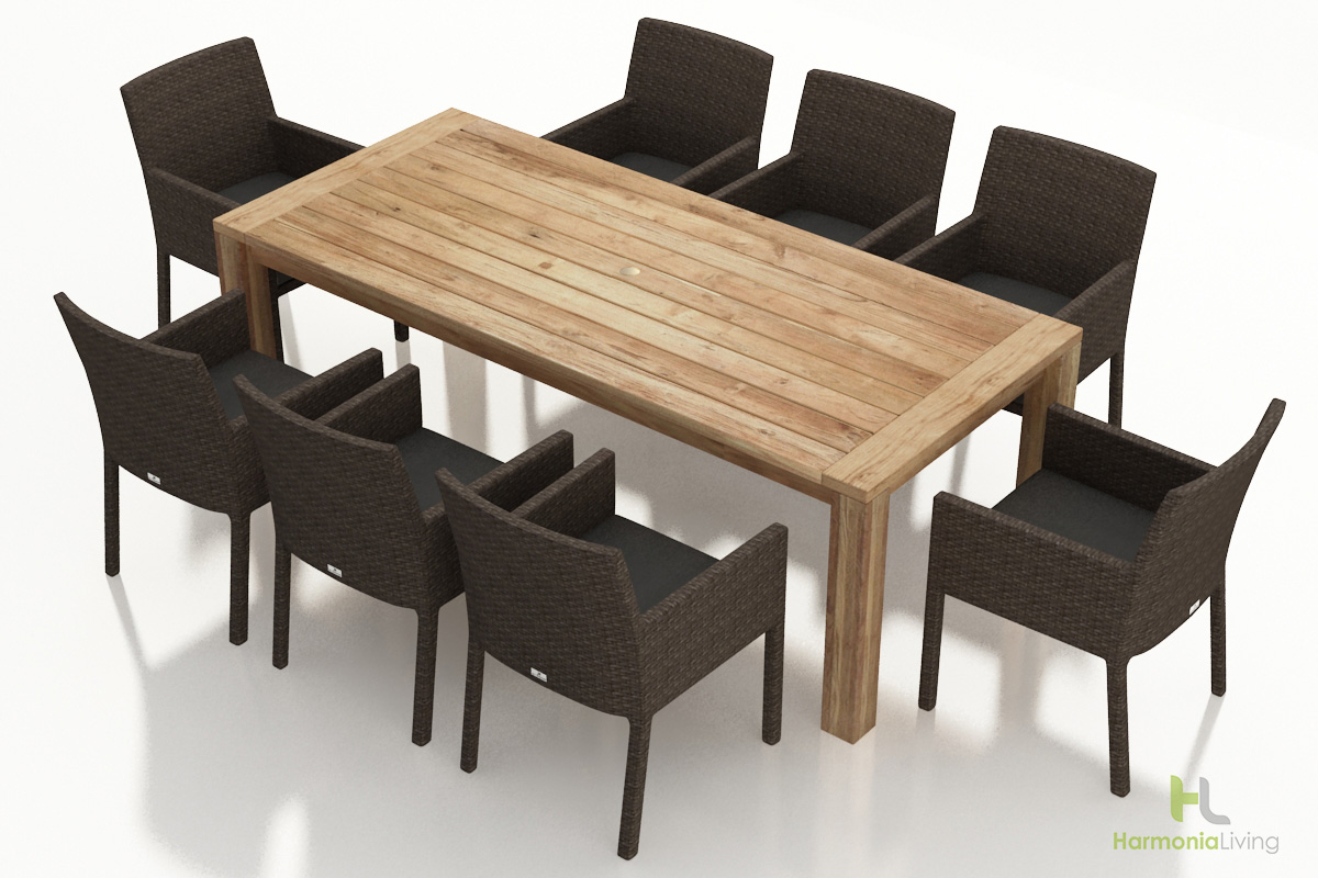9 Pc. Arden Dining Set - Canvas Charcoal Cushions