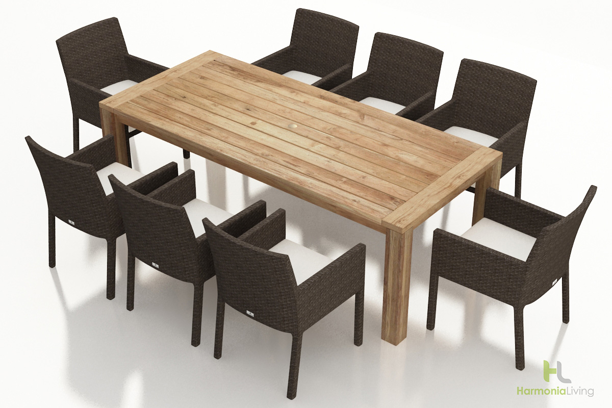 9 Pc. Arden Dining Set - Canvas Natural Cushions