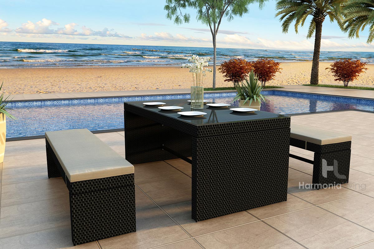 3 Pc. Skyline Bench Patio Dining Set (HL-SKY-3DS)
