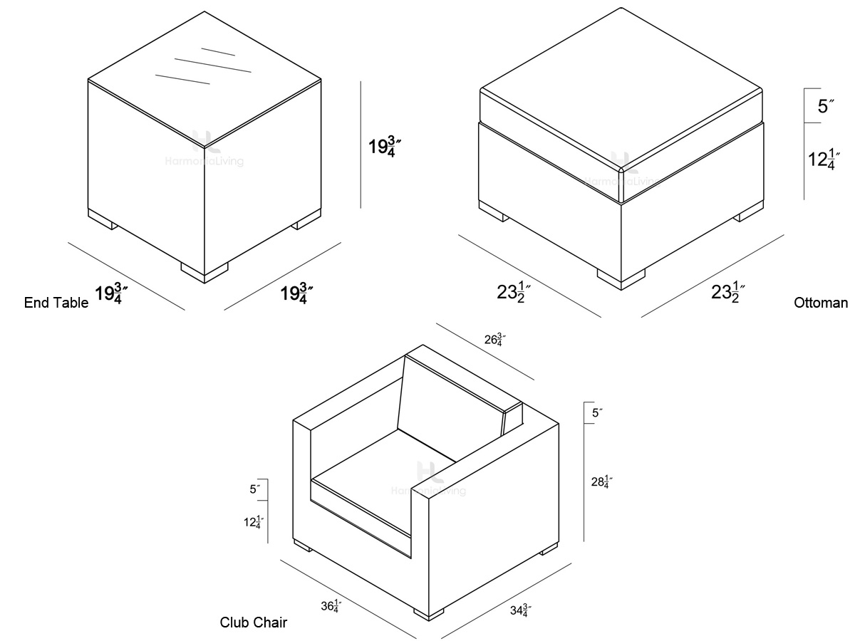 5 Pc. Element Club Chair Set - Dimensions