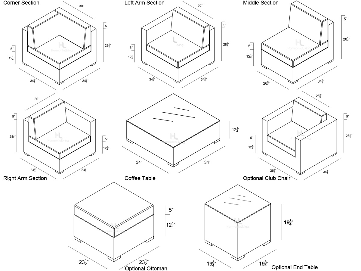 Dimensions For Individual Pieces