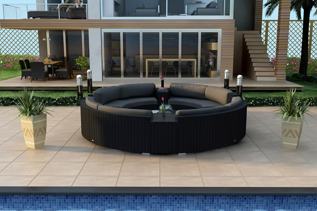 Eclipse 7 Piece Curved Sectional Set