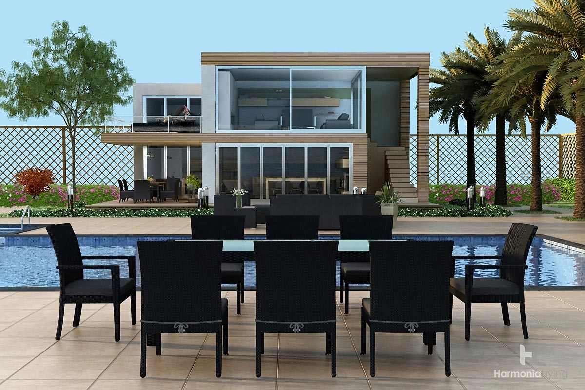 urbana 9 piece dining set modern outdoor patio furniture