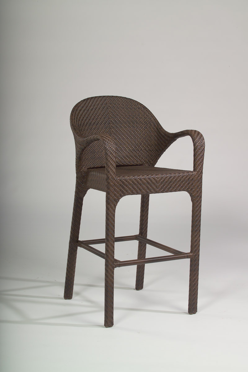 Outdoor wicker bar stool with arms.