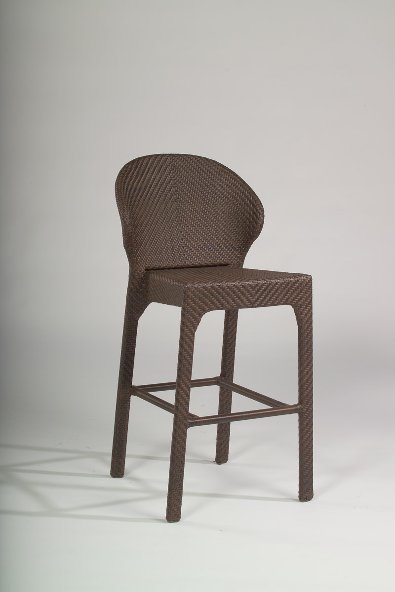 Indo all weather wicker bar stool without arms.
