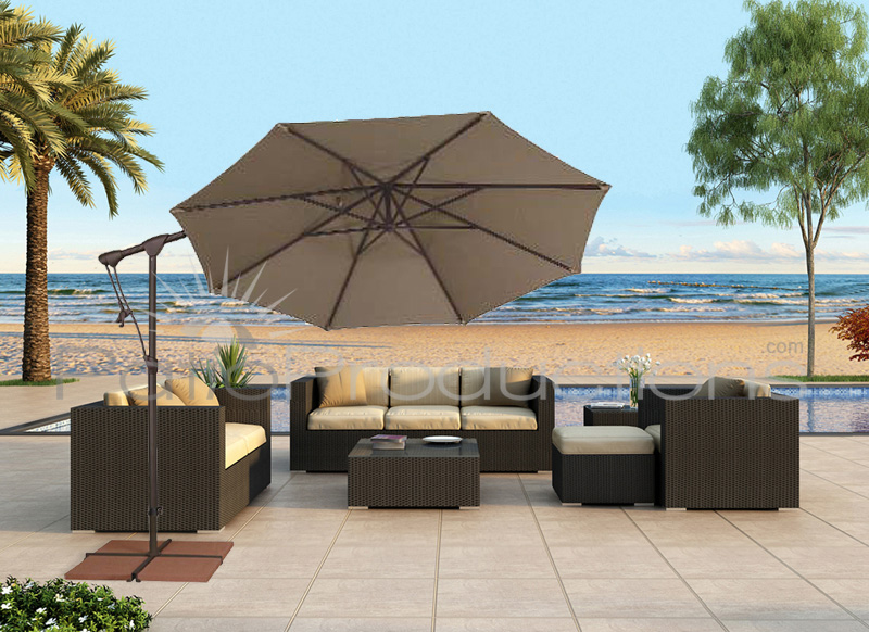 10' Garden Collection Octagon Cantilever Umbrella with Tilt and Swivel Function