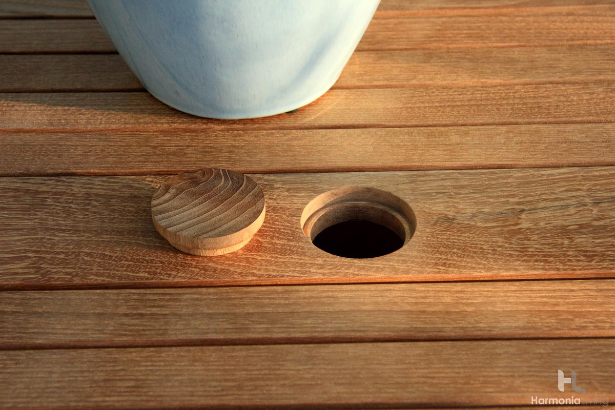 Teak Wood Top with Pre-Cut Umbrella Hole