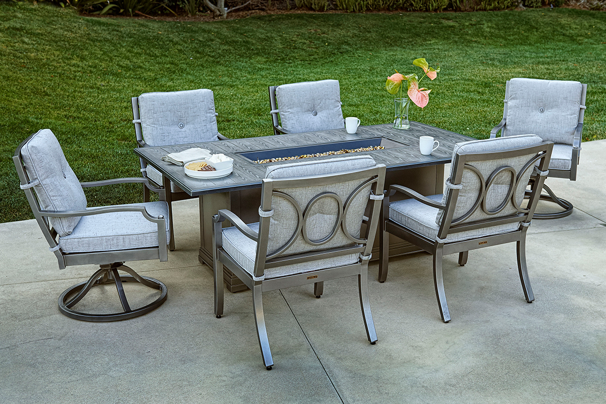 Furniture line the acapulco chair and chat set patio productions - Royal Pewter Finish Shown With Aragon Dining Chair Swivel