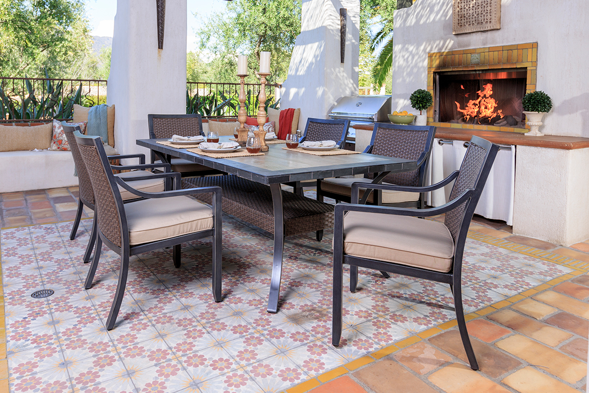 Furniture line the acapulco chair and chat set patio productions -  Set By Sunvilla Shown With Spectrum Sand Cushions