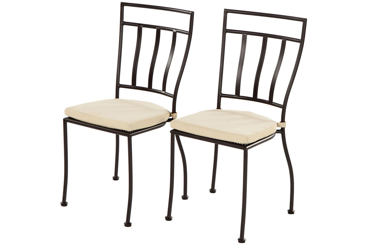 Semplice Stackable Powdercoated Steel Bistro Chair with Cushion