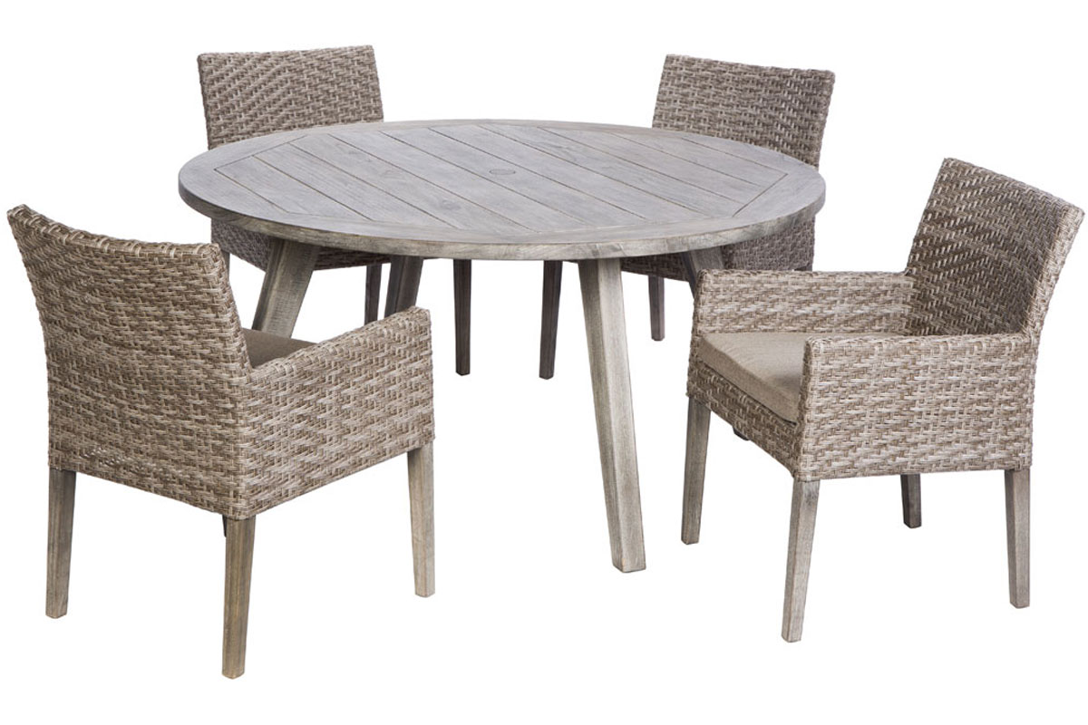Furniture line the acapulco chair and chat set patio productions - Cornwall Woven Wood Dining Set 46 3001