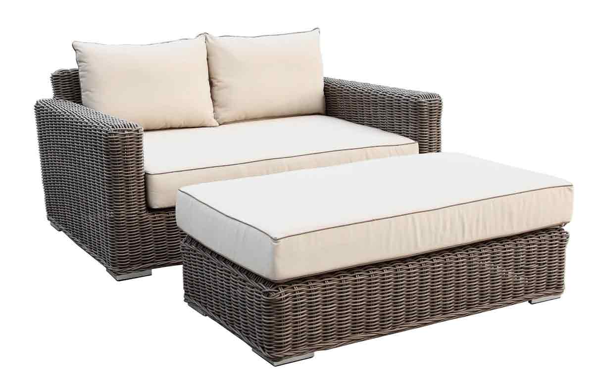 Coronado Double Chaise and Chaise Ottoman with Antique Beige Cusions (2101-99)