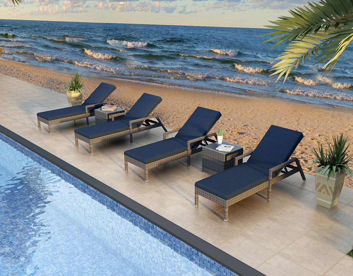 district reclining lounge chair set modern outdoor furniture harmonia living san diego