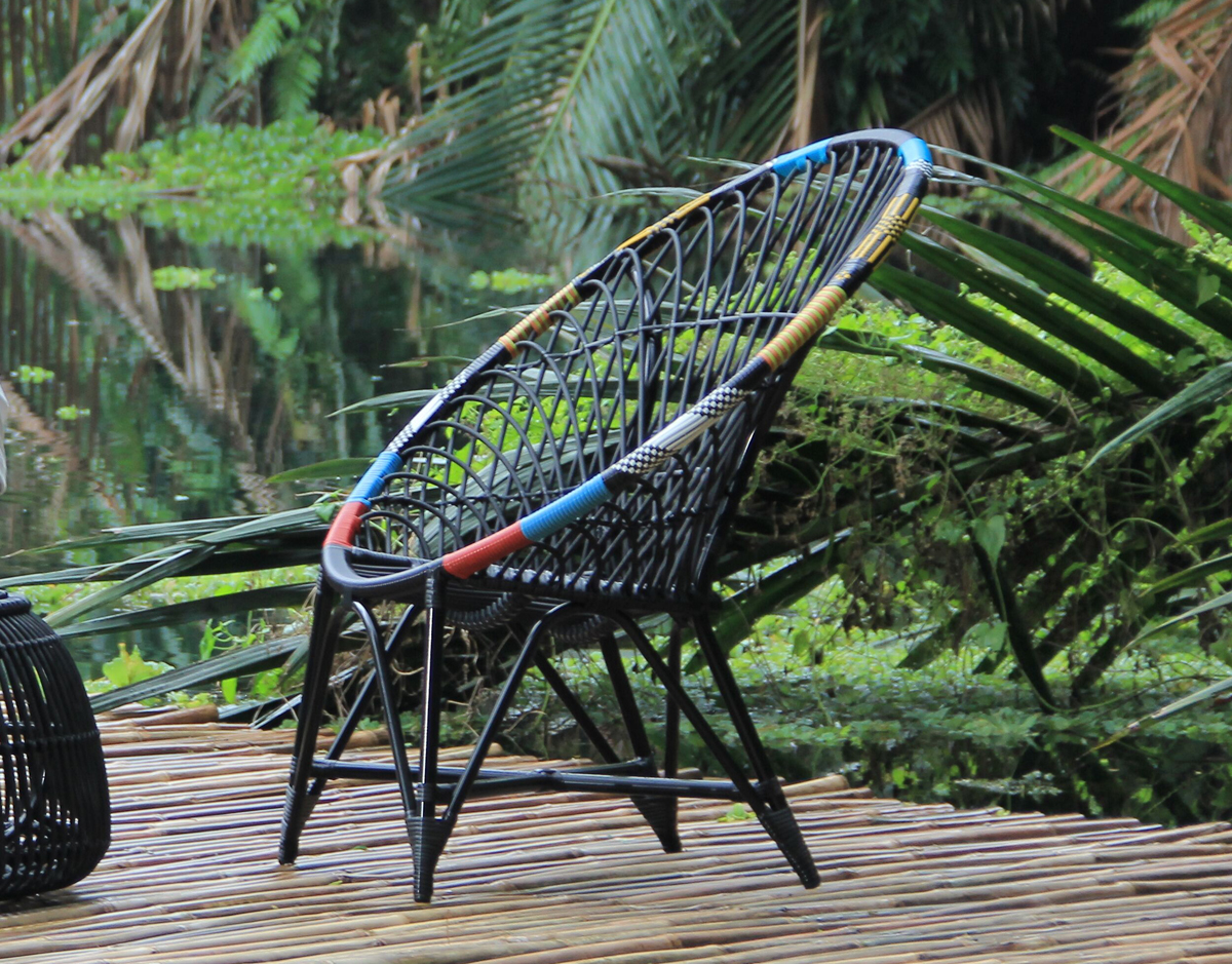 mandala lounge club chair chaos black synthetic wicker patio outdoor furniture exotic colorful