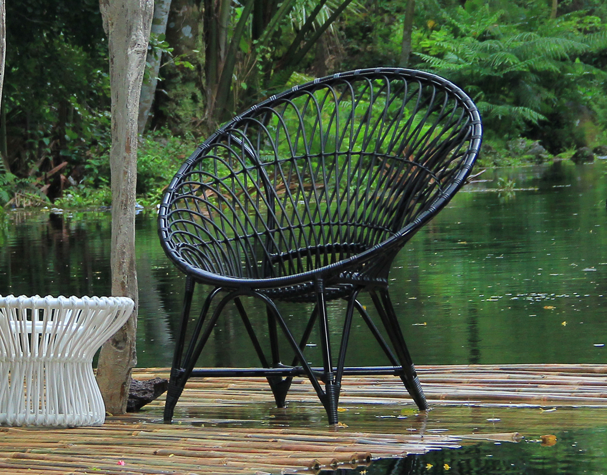 mandala lounge club chair cosmos black synthetic wicker patio outdoor furniture exotic colorful
