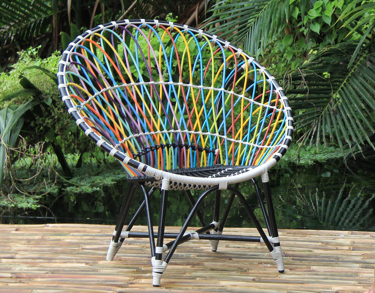mandala lounge club chair trance black synthetic wicker patio outdoor furniture exotic colorful
