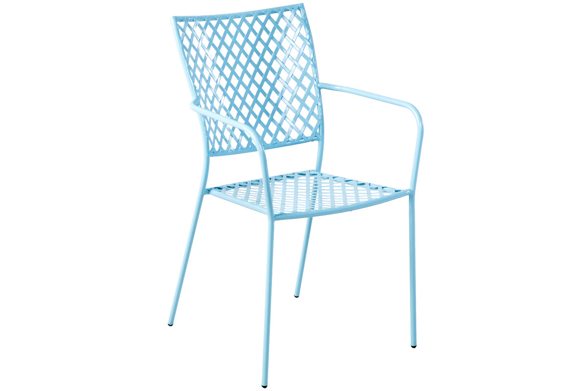 Martini Dining Stackable Bistro Chair in Sky Blue Finish