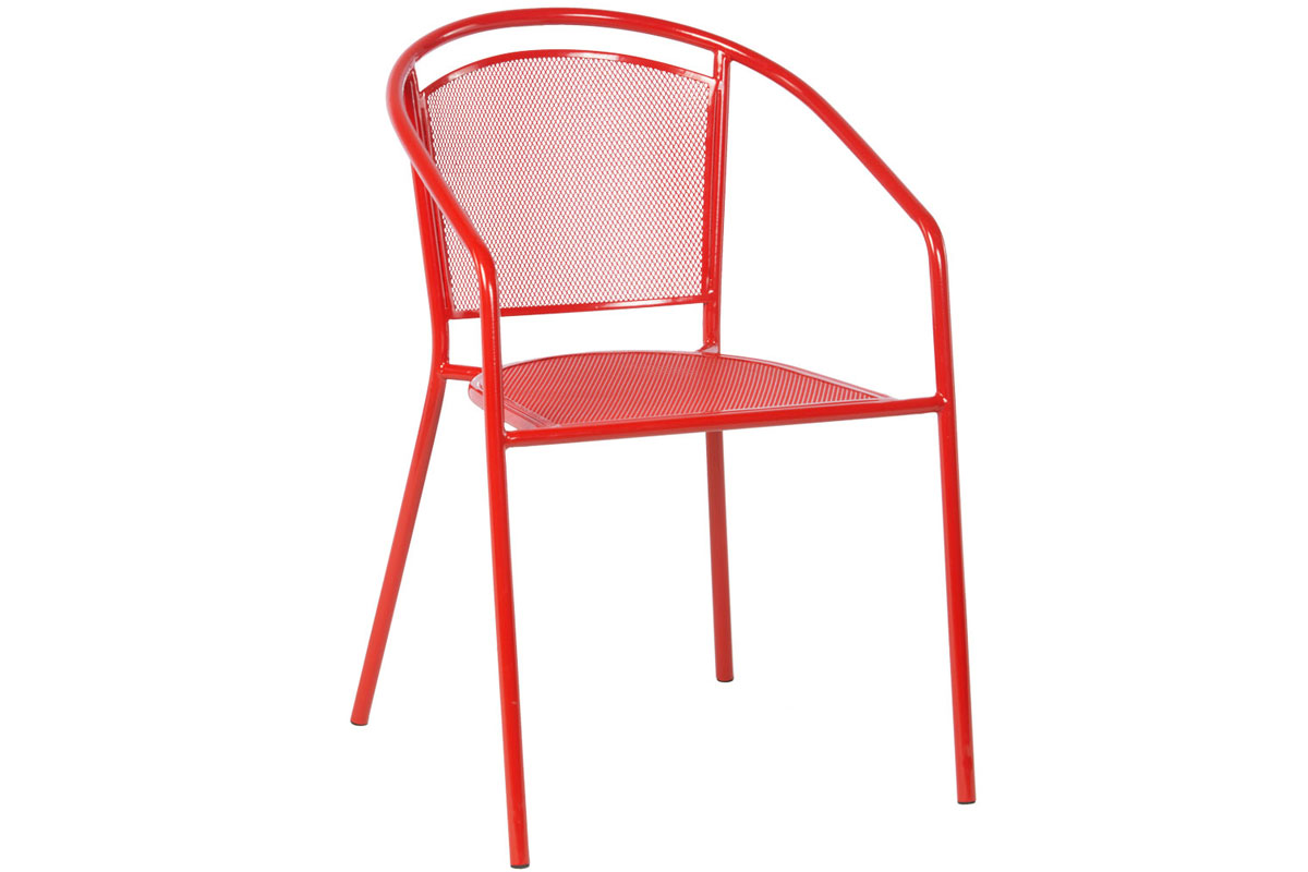 Martini Dining Stackable Powdercoated Mesh Bistro Chair in Cherry Pie Finish