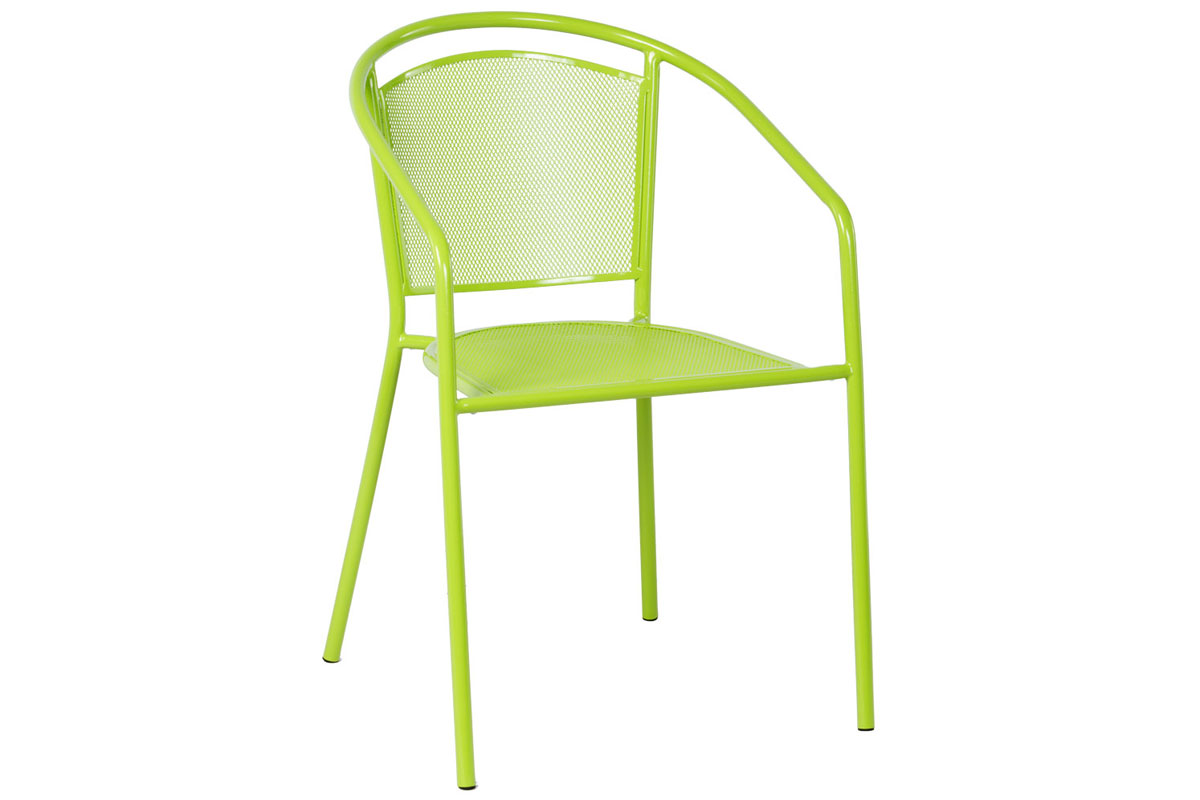 Martini Dining Stackable Powdercoated Mesh Bistro Chair in Keylime Green Finish