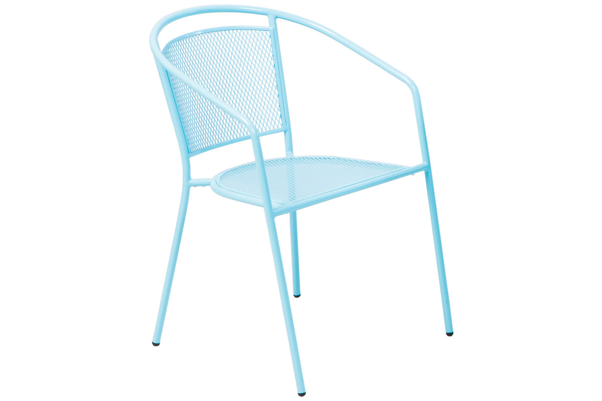 Martini Dining Stackable Powdercoated Mesh Bistro Chair in Sky Blue Finish