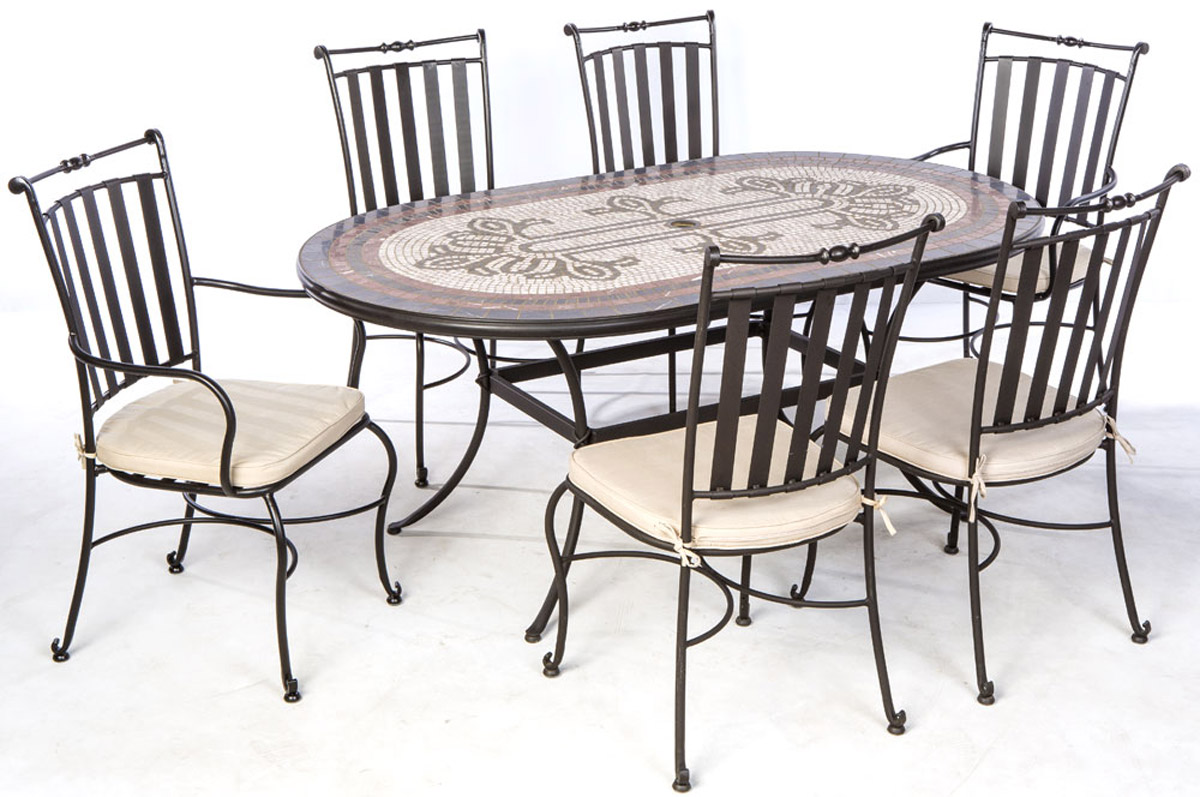 ... Orvieto 72u0027 Oval Marble Mosaic Dining Set With 6 Chairs And Table